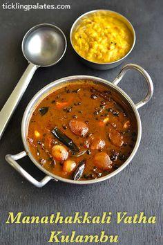 Manathakkali Vathal Kulambu recipe with step by step photos. Restaurant style, Manathakkali vathal kuzhambu that is served with rice and roasted pappads. Veg Recipes, Lunch Recipes, Indian Food Recipes, Vegetarian Recipes, Cooking Recipes, Healthy Recipes, Healthy Foods, Chicken Recipes, Recipies