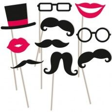 Schnurrbart - Fotorequisiten-Set, 10-teilig, Mund, Brille, Hut & Bart mit Stab - Moustache Party Deko