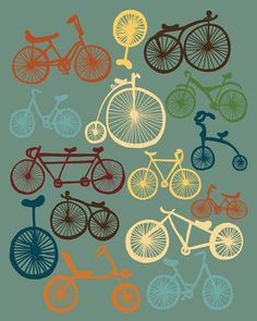 "Bikes Poster, Giclee Print Wall Decor, ""I LOVE BIKES"" Bicycle Print, Digital Giclee Print of Bicycles, Bicycles Poster. $19.00, via Etsy."