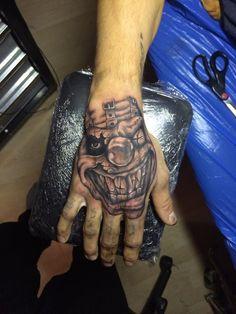 hand tattoo clown tattoo black and grey by Ljubomir Brkic