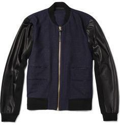 Paul SmithLeather-Sleeved Textured-Weave Wool-Blend Bomber Jacket