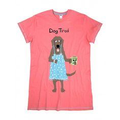 3f2a185506 Hatley Women s ONE SIZE Sleepshirt DOG TIRED sleep shirt PJ Pajamas  Mother s Day Night Shirts