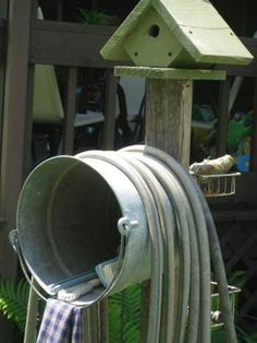 garden hose holder with galvanized bucket | Galvanized bucket for garden bits and bobs and hose pipe storage