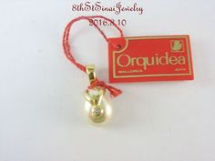 NWT Gold Vermeil Sterling Silver 925 Orquidea Majorca Pearl & CZ Pendant…