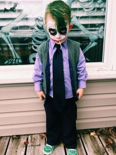 If you're looking for creative DIY Halloween Costumes For Kids, this list is perfect. Get easy and quick ideas for DIY Kids Halloween costumes. Joker Halloween Costume, Diy Halloween Costumes For Kids, Baby Halloween, Halloween Makeup, Scary Kids Costumes, Halloween Pictures, Homemade Toddler Costumes, Toddler Boy Costumes, Diy Halloween Costumes