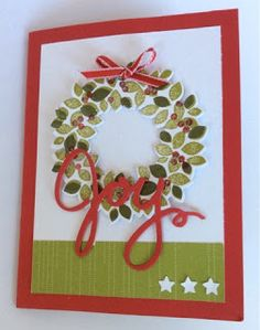 Stampin' Up Wondrous Wreath- tunnel card front  *photo only (Nov 23, 2015)