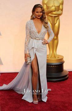 Chrissy Teigen Blue Long-sleeve V-neck Dress Oscars 2015 Red Carpet