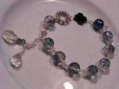 Glittery Faceted glass bead Bracelet with by georgettewilhelmina, $34.00