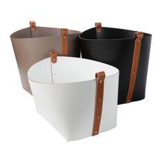 Pinetti White Leather Magazine Basket