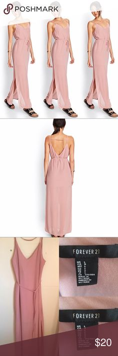 Forever 21 | Maxi Dress 👗 Forever 21  Maxi Dress 👗 Blush Pink Self-tie Waist Cut-out V Back 100% Polyester  Partially lined Double slits 27 inch slits Excellent Condition ✨ Smoke free home 🚭 15% off of 4 or more bundled items! Forever 21 Dresses Maxi