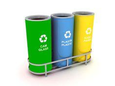 Sistema di contenitori per la raccolta differenziata WXK 608B (3 x 47L). Isola ecologica realizzata con contenitori in metallo, ottima per praticare la raccolta differenziata in ambienti interni .