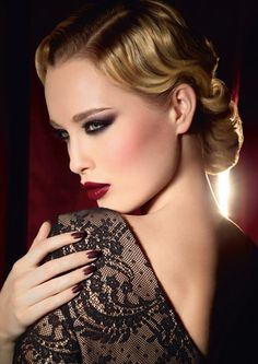 Make Up For Ever Black Tango Fall 2012 Makeup Collection, she is wearing the new palette with Aqua Rouge #11.
