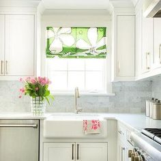 White KItchen with Green Floral Roman Shade