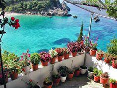 Balcony in Corfu island (via Discover the Greek Islands) Mykonos, Santorini, Wonderful Places, Beautiful Places, Beautiful People, Greece Wallpaper, Places To Travel, Places To Go, Greek Garden