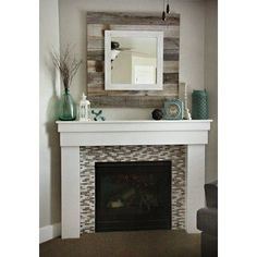 Barn wood Slat Mirror w/white Overlay by HCWoodworking on Etsy Home Fireplace, Fireplace Remodel, Fireplace Design, Fireplace Ideas, Over Fireplace Decor, Rustic Mantle Decor, Farmhouse Fireplace Mantels, Simple Fireplace, Mantle Ideas