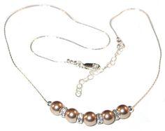 BRONZE Pearl Necklace Bridal Bridesmaid by CharminglyYoursToo