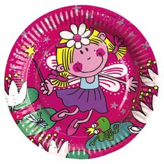 Funky Fairy Pink Round Paper Plates, packs of 8
