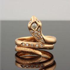 ANTIQUE VINTAGE SENSUOUS DIAMOND SNAKE RING