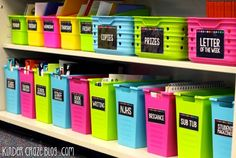 Organize your teacher materials with Classroom Supply Labels. Check out this kindergarten teacher keeps her space organized with these stunning labels.