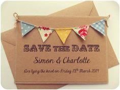 Save The Date Fabric Bunting Wedding Invitation, Vintage Spring Rustic Summer Wedding Kraft Card