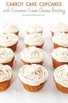 If you love carrot cake, you will definitely love these Carrot Cake Cupcakes! Topped with Cinnamon Cream Cheese Frosting, these are a must make. Moist, flavourful and so delicious. Cupcake Recipes, Baking Recipes, Dessert Recipes, Desserts, Dessert Bars, Cinnamon Cream Cheese Frosting, Cinnamon Cream Cheeses, Carrot Cake Cupcakes, Cupcake Cakes