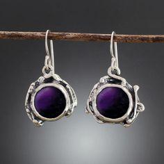Handmade sterling silver organic feel Amethyst earrings. Created by artisan…