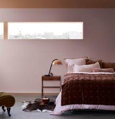 Bedroom painted in Heart Wood and burnt orange