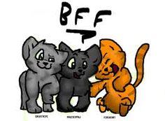 Graystripe, Ravenpaw, and Rusty/Firepaw/Fireheart/Firestar.... Best friends! :D