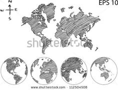 Earth Globe with World map Detail Vector Line sketch Up Illustrator, EPS 10. - stock vector