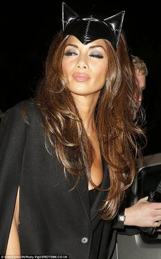 Alluring: The star wore nude lipgloss and smokey eye makeup to complete her catwoman look Catwoman Mask, Costume Ideas, Costumes, Urban Music, Halloween Hair, Nicole Scherzinger, High Society, Smokey Eye Makeup, Color Blending