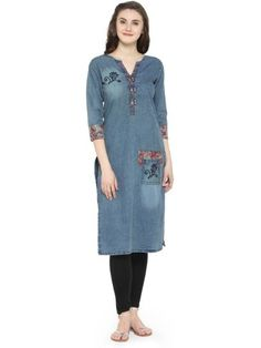 Cotton Denim Self Design Kurti Frock Style Kurti, Jacket Style Kurti, Kurti With Jacket, Denim Kurti Designs, Cold Shoulder Kurti, Floor Length Kurti, A Line Kurti, Latest Kurti, Kurti Designs Party Wear