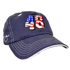 This 100% brushed cotton twill #48Jimmie Johnson men's hat is embroidered with white stars and a big #48 colored in red, white and blue. The left side is embroidered with the NASCAR logo, while the right has Jimmie's signature. Velcro closure. $21.50 #NASCAR #GIFTS #Hendrickfans #henderickmotorsports #48jimmiejohnson Visit us At www.nascarshopping.net for more # #48JimmieJohnson Merchandise