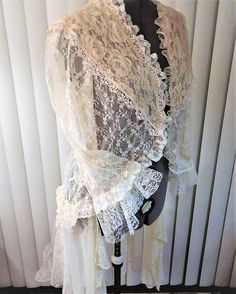 Recycled Jacket Upcycled Clothing Altered Couture Lace Duster