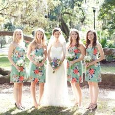 Floral bridesmaid dresses in an Orlando park wedding.
