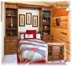 This cozy room in a rustic lake cabin shows how a Showplace  Murphy Wall-Bed can be precisely sized to the available space.