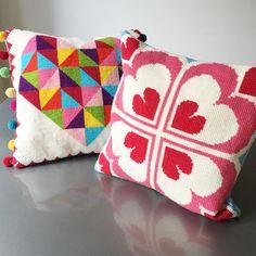Geometric Rainbow Heart Tapestry Cross Stitch Kit by Jacqui Pearce www.JacquiP.com
