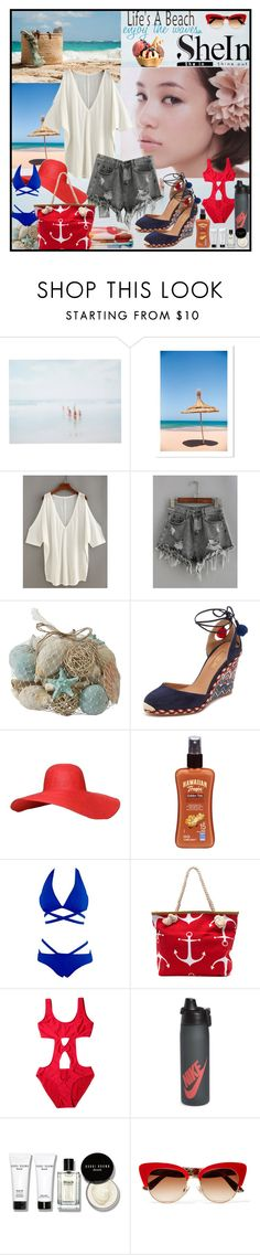 """SheIn  -  Top & Shorts"" by fantasiegirl ❤ liked on Polyvore featuring She Hit Pause Studios, Pier 1 Imports, Aquazzura, Hawaiian Tropic, NIKE, Bobbi Brown Cosmetics and Dolce&Gabbana"