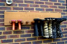personalised engraved solid oak welly boot holder rack stand