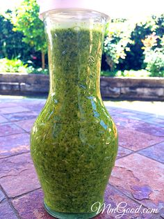 A great recipe for pesto without using nuts. Not all pesto has to be made the same, try my version which is a little lighter and healthier!