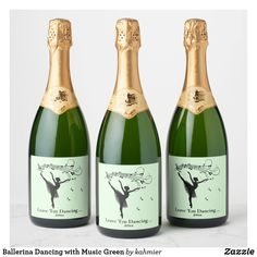 Ballerina Dancing with Music Green Champagne Label