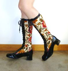 Vintage 1960s Floral Tapestry Boots 60s Mod by MetricMod on Etsy