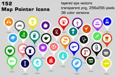 Check out 152 map pointer icons by stockimagefolio on Creative Market