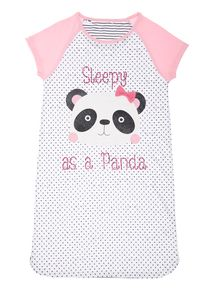 Girls White Panda Nightie
