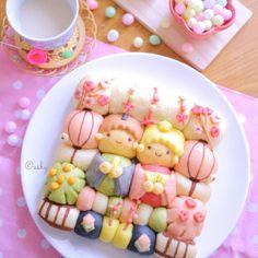 キキララのひなまつりちぎりパン♪ Cute Food Art, Food Art For Kids, Japanese Bread, Japanese Sweets, Kawaii Cooking, Kawaii Bento, Bread Art, Cute Buns, Kawaii Dessert