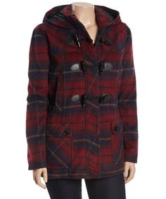 Love this Wine & Navy Plaid Toggle Coat - Plus by Urban Republic on #zulily! #zulilyfinds