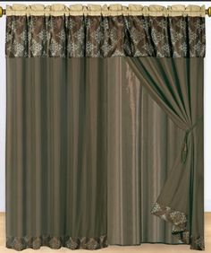 """Luxury Fine Curtains 2 x Panels 60x84""""ea. with Valance Thomasville Coffee"""