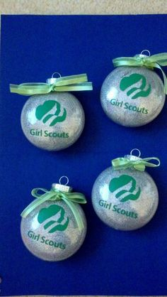 for Christmas gifts, with girl's names~Girl scout glitter ornaments