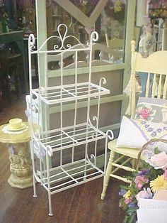 Shabby Chic Vintage Wrought Iron Planter Plant Stand Bakers Rack...shabby White