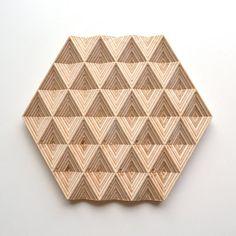 Wooden Trivet & Centerpiece Diamond - Plywood Birch Trivet - Modern Table Decor trivet - PotHolder - Hexagonal Wooden Trivet - 3D Engraving
