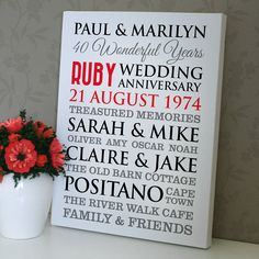 Personalised Ruby Wedding Anniversary Art By A Type Of Design Notonthehighstreet Names On The